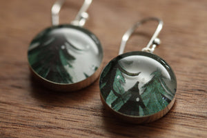 Winter trees earrings made from recycled Starbucks gift cards, sterling silver and resin