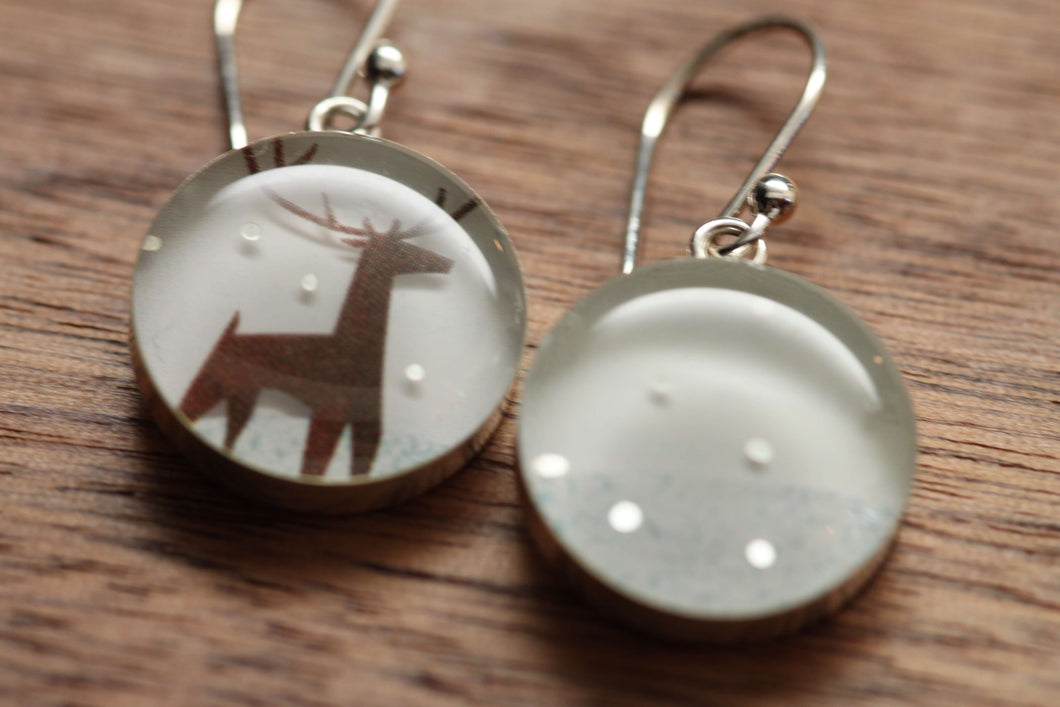 Reindeer in the snow earrings made from recycled Starbucks gift cards, sterling silver and resin