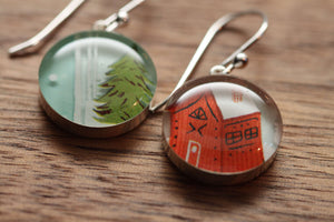 Holiday cabin earrings made from recycled Starbucks gift cards, sterling silver and resin
