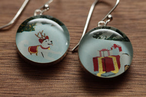 Reindeer Dog with holiday packages earrings made from recycled Starbucks gift cards, sterling silver and resin