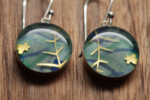 Jungle earrings made from recycled Starbucks gift cards, sterling silver and resin