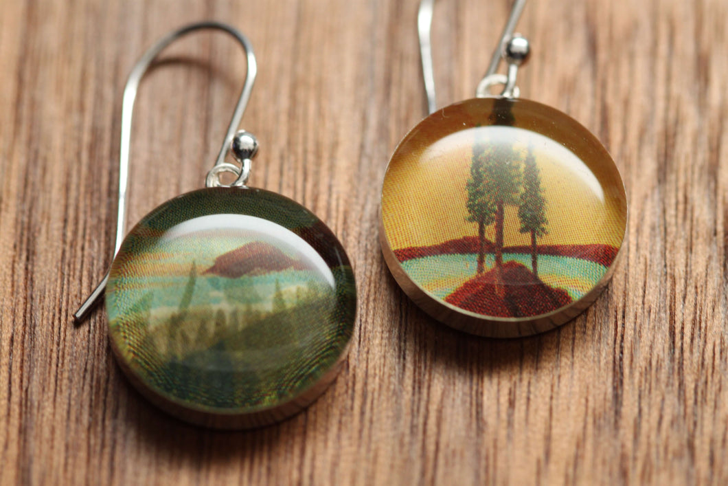 California coast earrings made from recycled Starbucks gift cards, sterling silver and resin