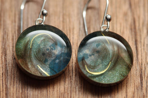 Galaxy earrings with sterling silver and resin. Made from recycled, upcycled Starbucks gift cards