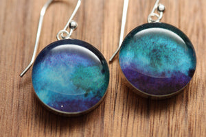 Celestial earrings with sterling silver and resin. Made from recycled, upcycled Starbucks gift cards
