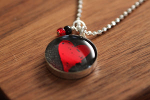 Red Heart Necklace Made from recycled Starbucks gift cards, sterling silver and resin