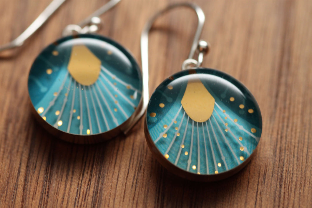 Make a wish dandelion earringsmade from recycled Starbucks gift cards, sterling silver and resin