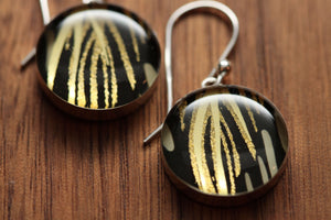 Black and Gold Shimmering earrings with sterling silver and resin. Made from recycled, upcycled Starbucks gift cards