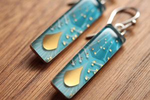 Make a wish rectangle chandelier earrings  made from recycled Starbucks gift cards, sterling silver and resin
