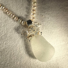 Load image into Gallery viewer, Sea Glass Bouquet Necklace on a Strand of Pearls