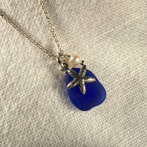 Silver Star Fish and Sea Glass Necklace
