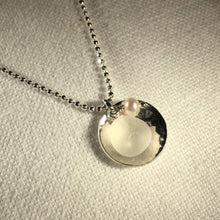 Load image into Gallery viewer, Silver Dish Bezel Sea Glass Necklace