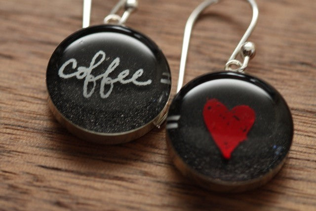 Red Heart Coffee = Love Earrings made from recycled Starbucks gift cards and sterling silver.
