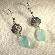 Load image into Gallery viewer, Silver Sand Dollar and Sea Glass Earrings