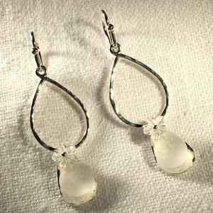 Hammered Silver Chandelier Sea Glass Earrings