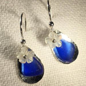 Floating Silver Bezel and Sea Glass Earrings