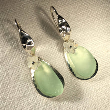 Load image into Gallery viewer, Fancy Ear Wire Floating Silver Bezel and Sea Glass Earrings