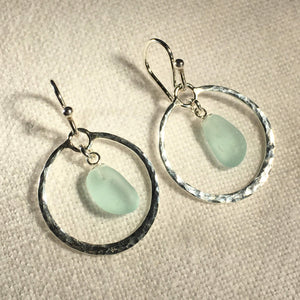 Hammered Circle Sea Glass Earrings in Silver