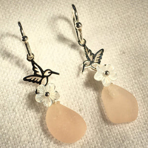 Sea Glass and Tiny Hummingbird Earrings