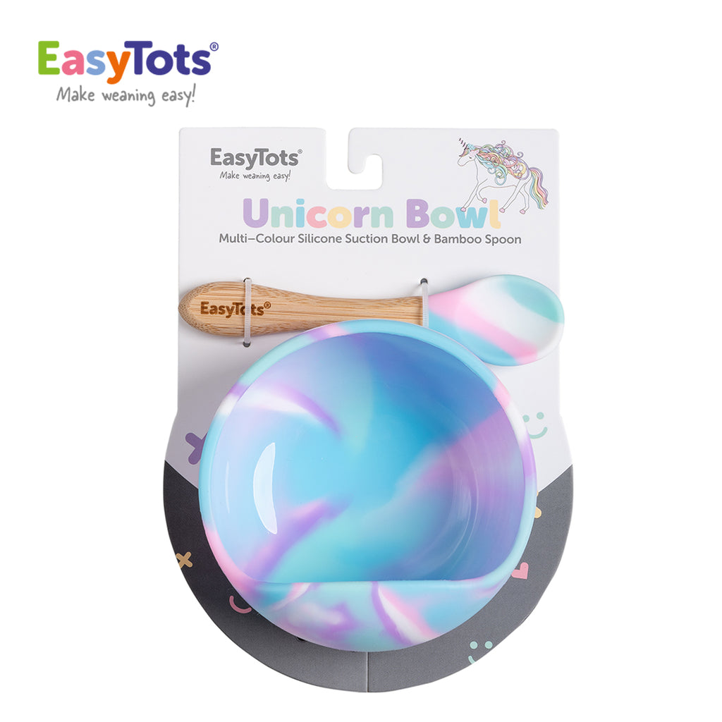 EasyTots Unicorn Suction Bowl and Bamboo Spoon Set