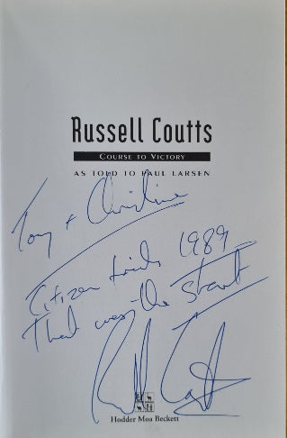 Russell Coutts thank you note to North Shore Scaffolding for lending him the boat that started his match racing career