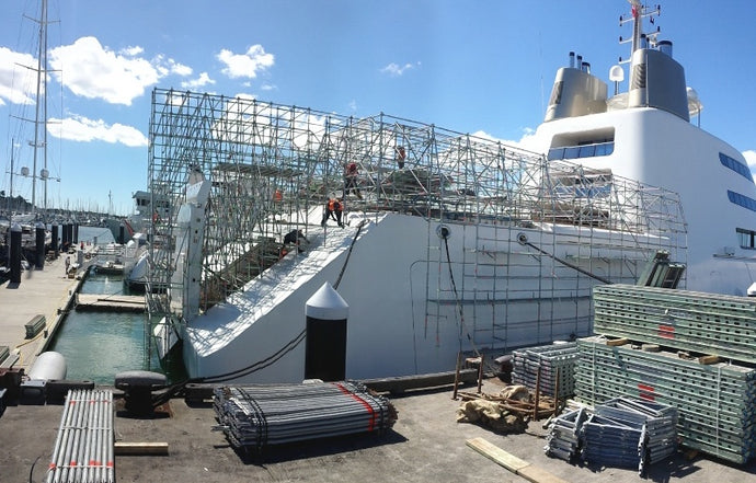 North Shore Scaffolding was commissioned to install scaffolding to allow paintwork on 2/3's of the hull when Super Super Yacht 'A' Scaffold for Painting