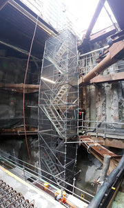 Layher Scaffolding Access Tower built by North Shore Scaffolding inside Albert Street Tunnel system of the City Rail Link (CRL).