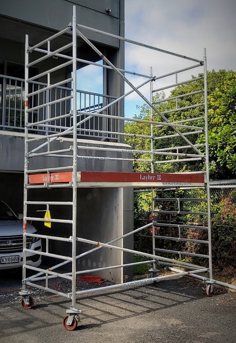 Layher Uni Wide Mobile Scaffold with 2 metre high deck height