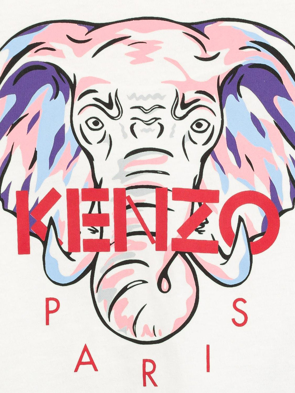 KENZO KIDS White Long Sleeves T-shirt with Elephant Print