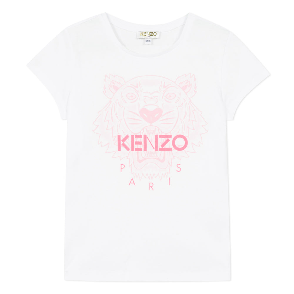 KENZO White T-Shirt With Pink Tiger