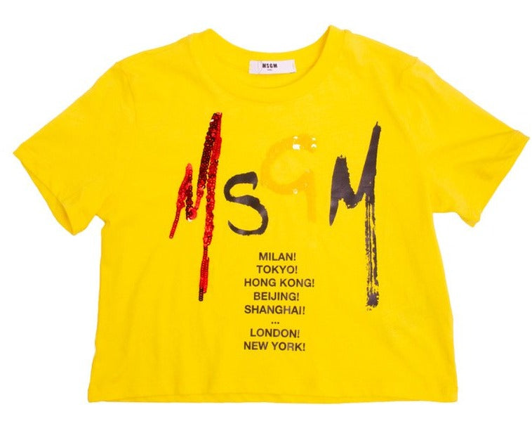MSGM Logo Print Yellow T-Shirt