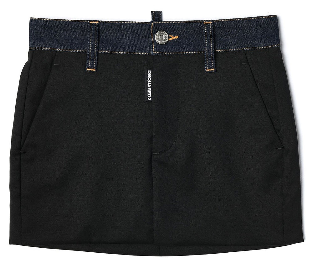 DSQUARED2 KIDS Black Skirt With Denim Detail