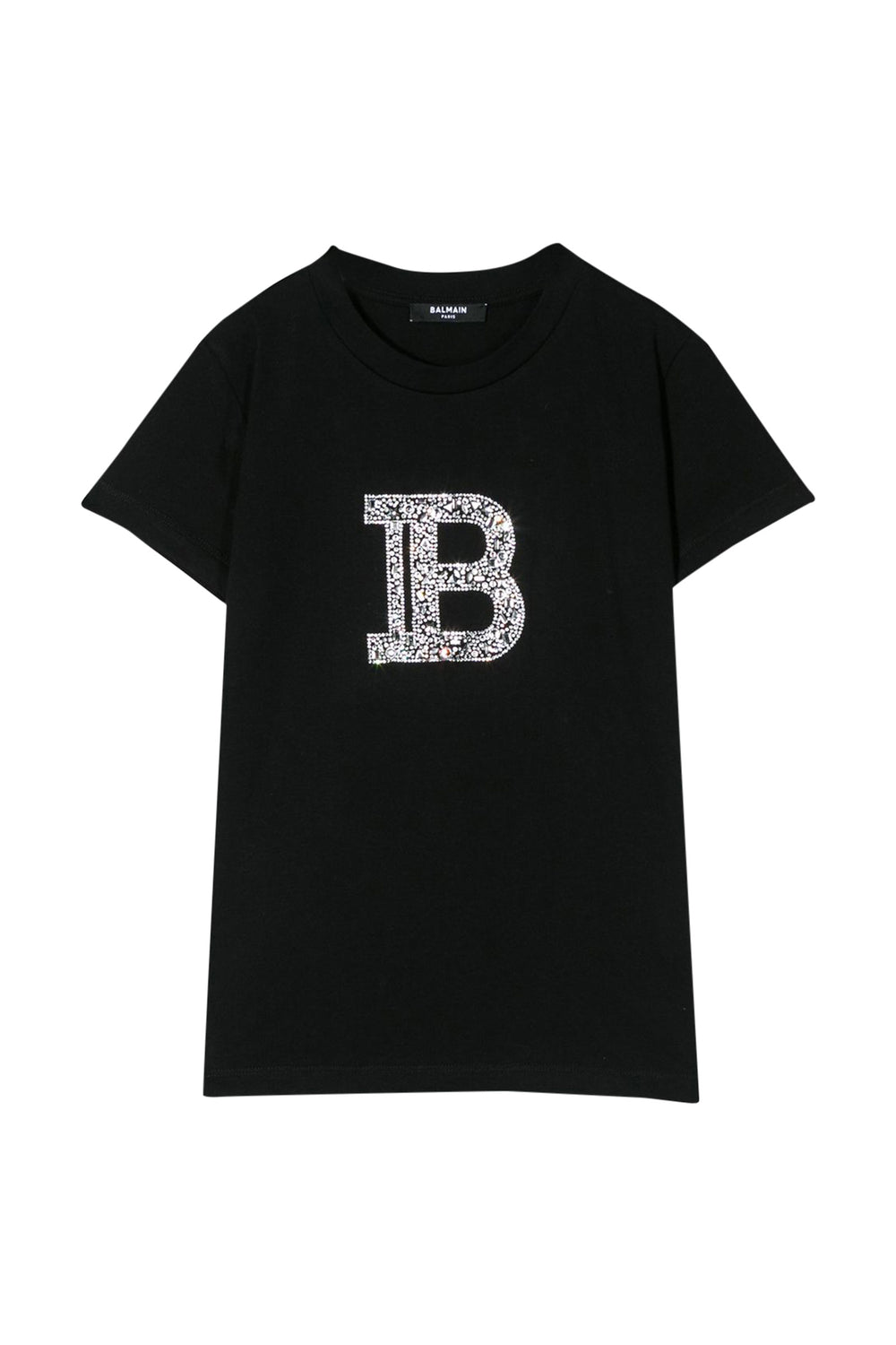 BALMAIN Black T-shirt With Decorative Logo