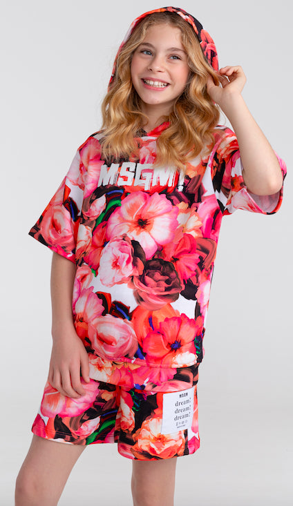 MSGM Flower Print Shorts with Elasticated Waistband