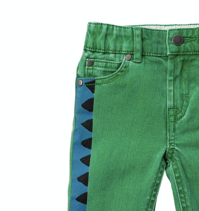 STELLA McCARTNEY KIDS Denim Trousers For Babies With Snake Print