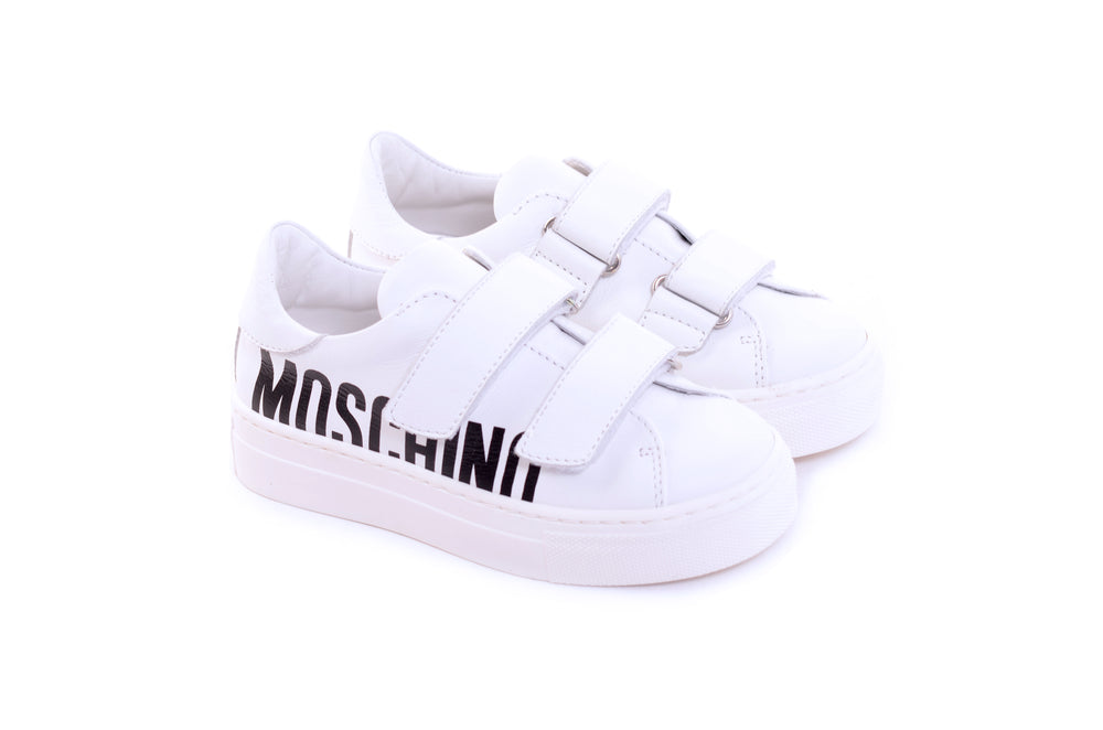 MOSCHINO KIDS White Leather Trainers