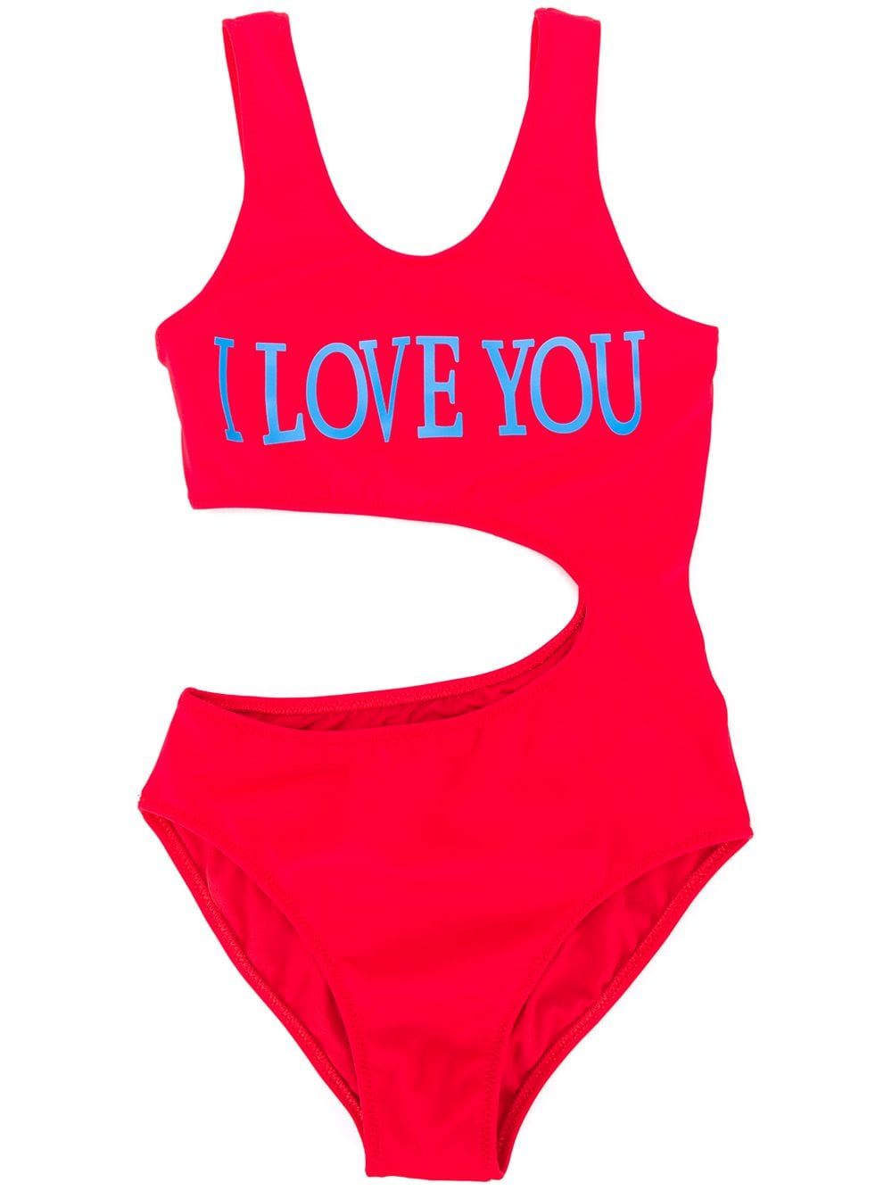 ALBERTA FERRETTI JUNIOR I love you one-piece red swimsuit