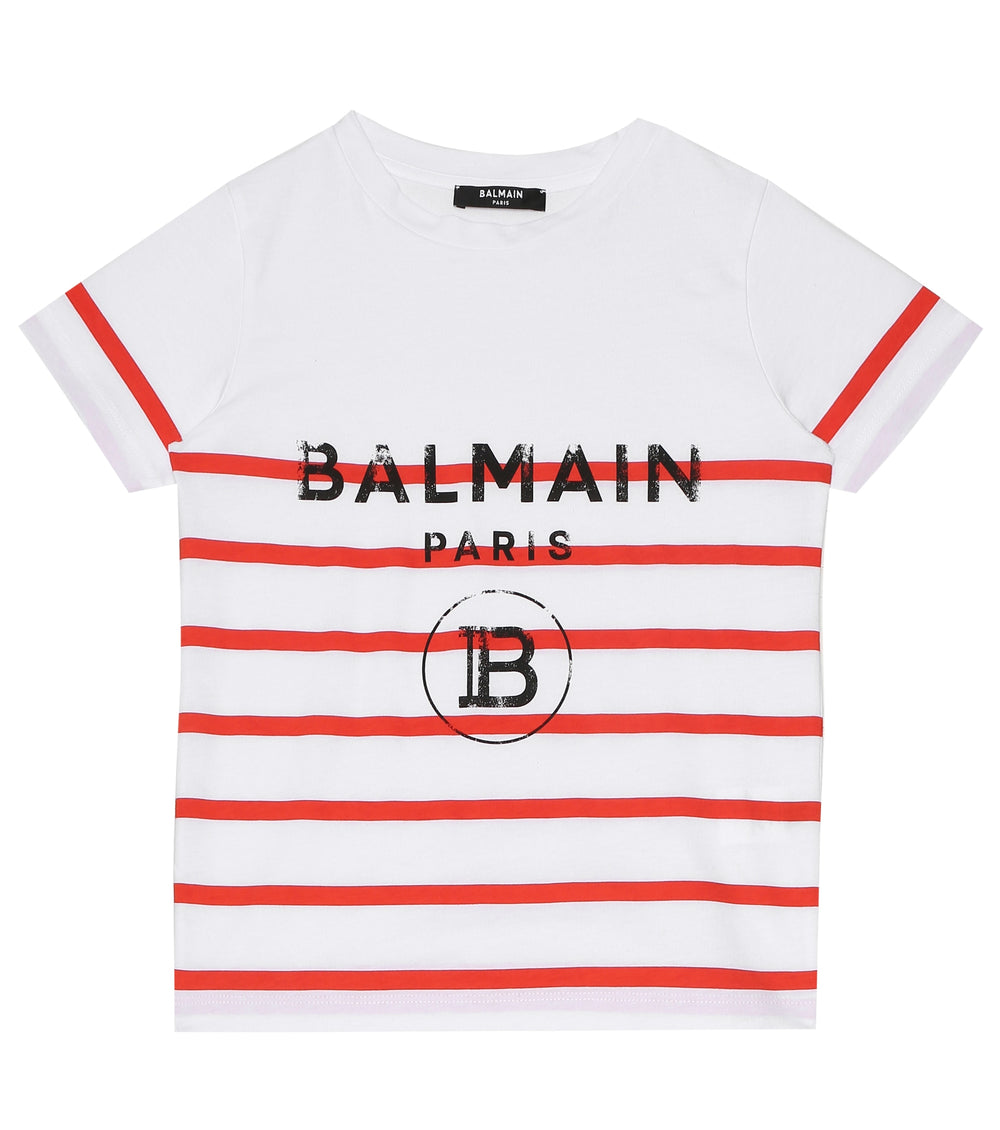 BALMAIN T-shirt With Stripes And Logo