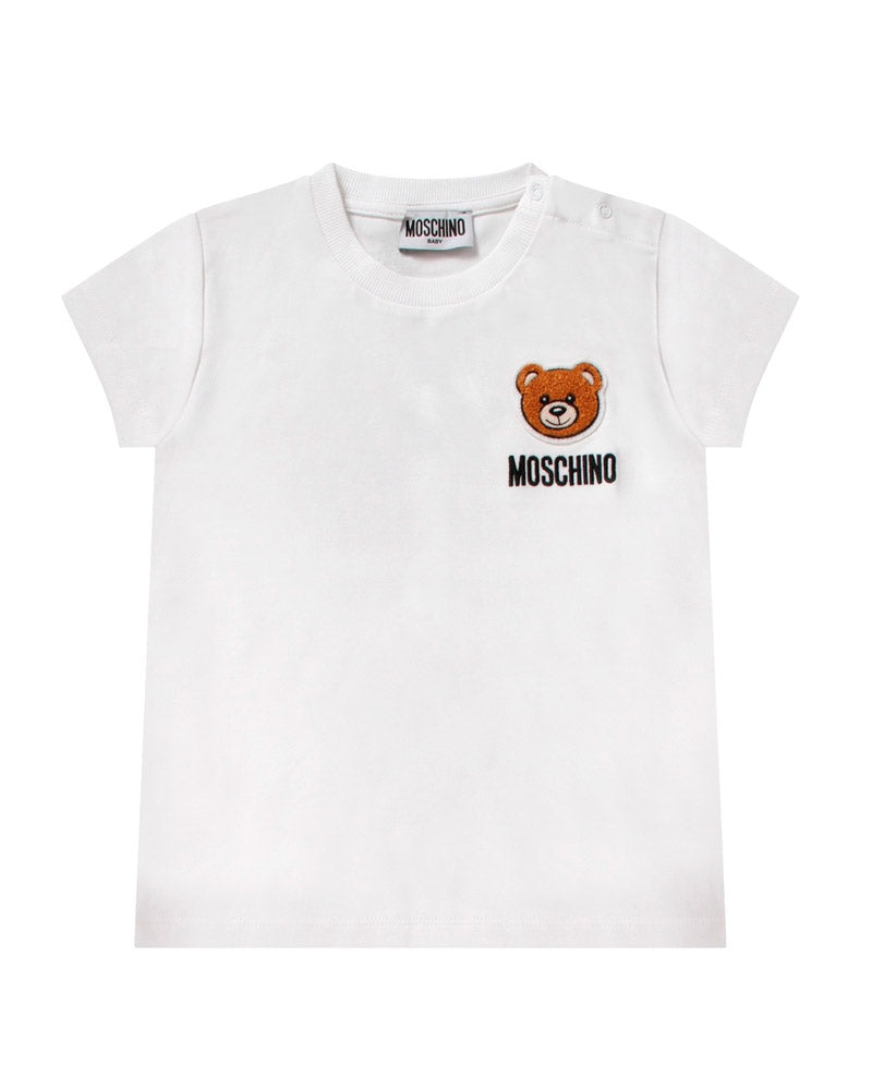 MOSCHINO Classical White Baby T-Shirt With Bear Logo