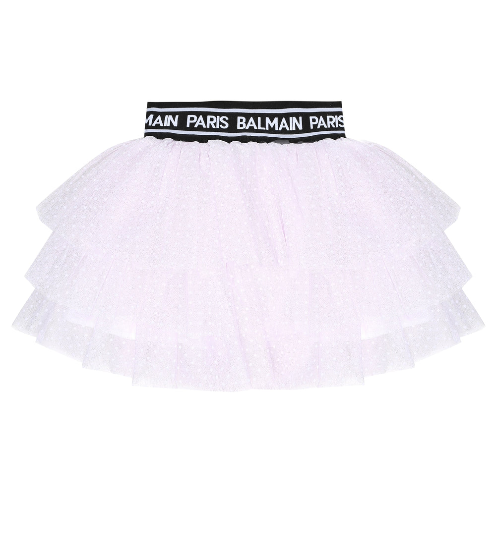 BALMAIN Light Pink Polka-Dot Tulle Skirt