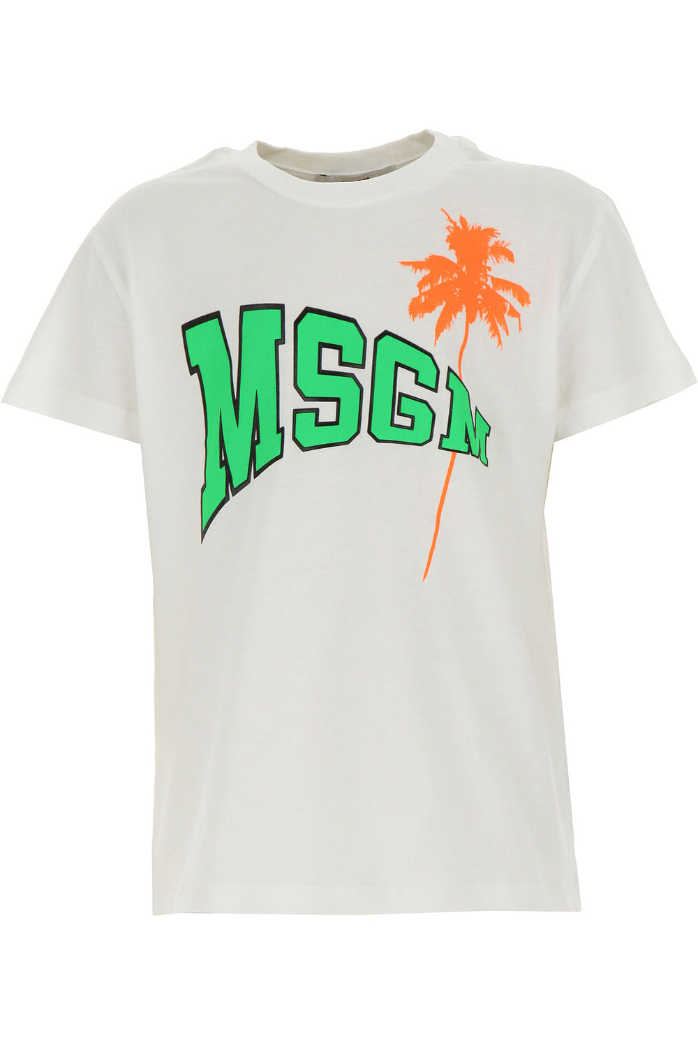MSGM White T-shirt With Neon Logo