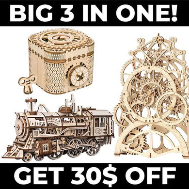 BIG 3 in ONE (clock, locomotive, treasure box)