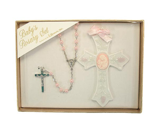 Porcelain Crib Cross & Rosary Set - Girl