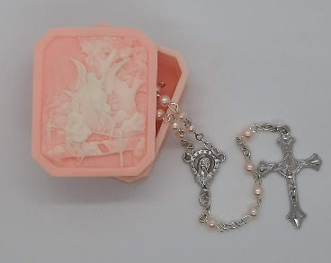 Guardian Angel Box & Rosary Set - Girl