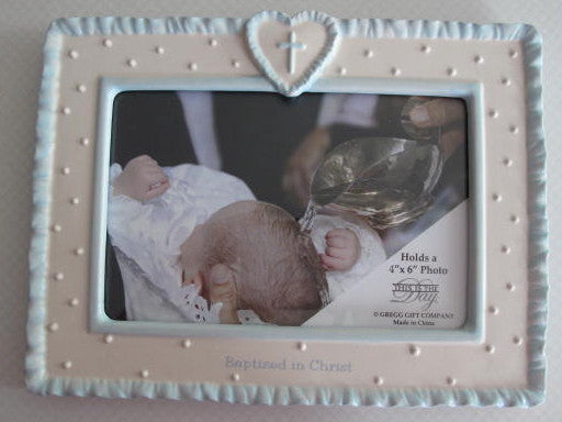 Blue Porcelain Baptism Frame - Catholic Gifts Canada
