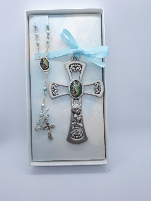 Boy's Guardian Angel Rosary/Crib Medal