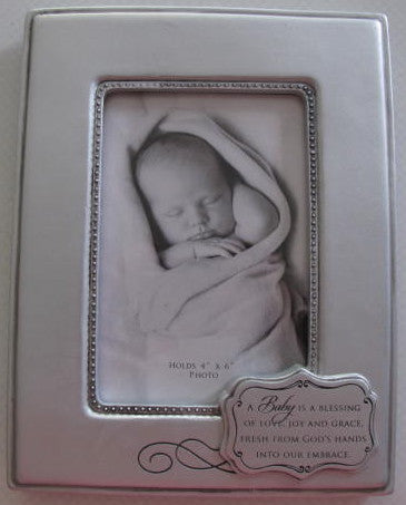 Pewter-Look Baby Blessings Frame - Catholic Gifts Canada