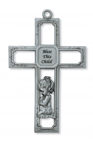Open Pewter Cross for Girls