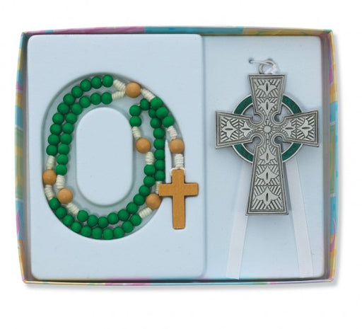 Celtic Cross Crib Medal & Rosary Set