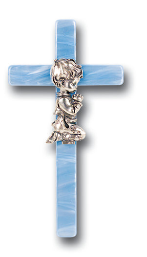Boy's Blue Pearlized Cross