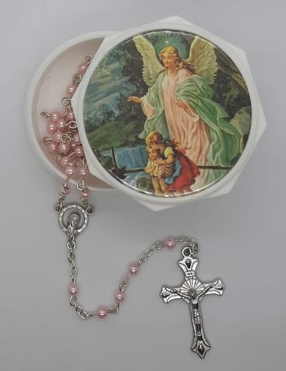 Pink Guardian Angel Rosary & White Box
